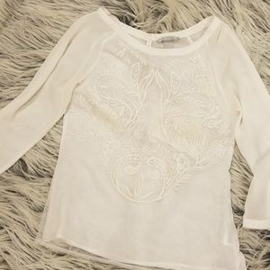 White Sheer Embroidered 3/4 Sleeve Blouse